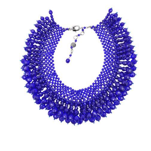 Tentation Mode – Collier plastron bleu Helene Zubeldia